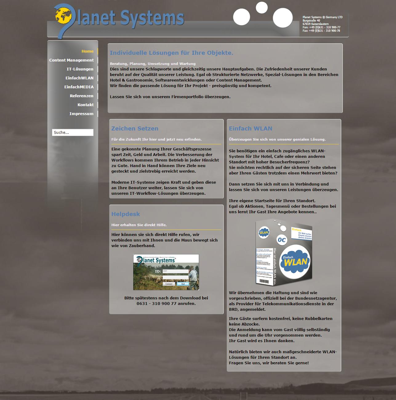 www.planetsystems.de (Version 2.0 Joomla)
